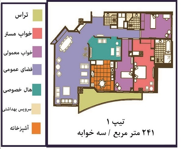 فروش ( پیش فروش ) آپارتمان 241 متری فوق لوکس در خیابان فرشته تهران