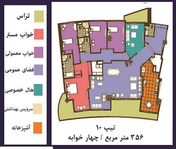 فرشته : فروش ( پیش فروش )  آپارتمان 356 متری مجلل در خیابان فرشته تهران