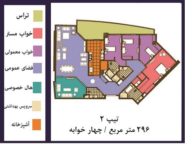 فروش ( پیش فروش ) قیمت آپارتمان 296 متری فوق العاده  لوکس در خیابان فرشته تهران
