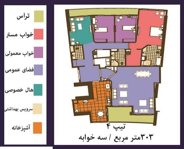 فرشته : فروش ( پیش فروش )  آپارتمان 303 متری فوق مدرن در خیابان فرشته تهران