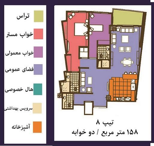 فرشته : فروش ( پیش فروش )  آپارتمان 158 متری فوق مدرن در خیابان فرشته تهران