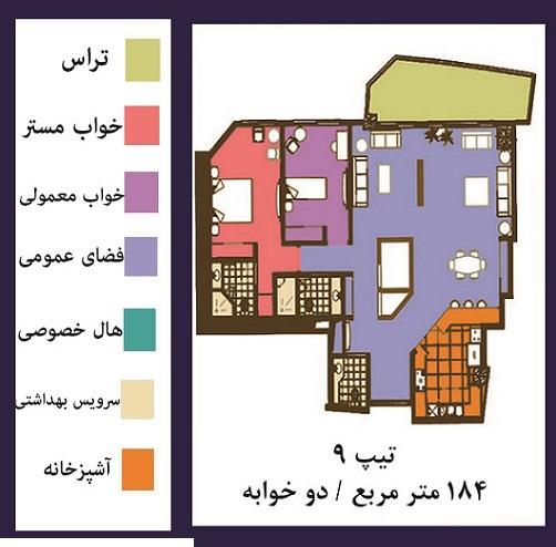 فرشته : فروش ( پیش فروش )  آپارتمان 184 متری فوق مدرن در خیابان فرشته تهران